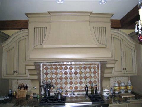 An example of a custom hood created for a kitchen
